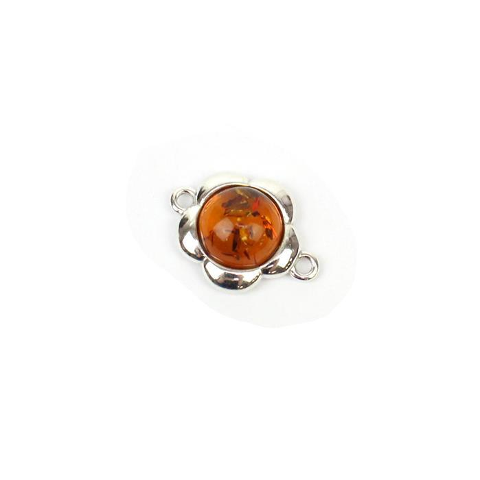 Baltic Cognac Amber Round Cabochon Flower Connector Approx 15mm Sterling Silver