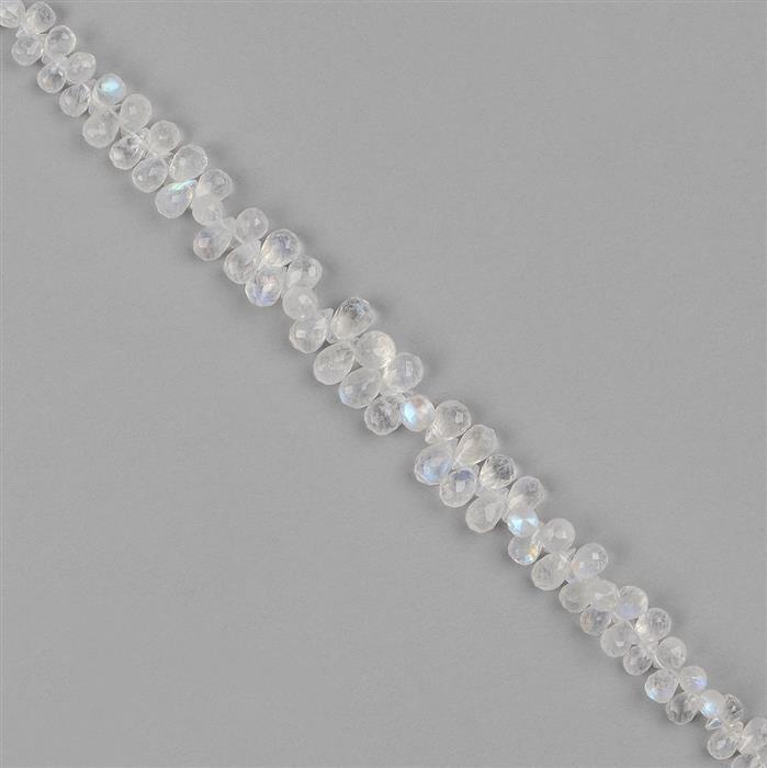 52cts Rainbow Moosntone Graduated Faceted Drops Approx 4x3 to 7x4mm, 16cm Strand.