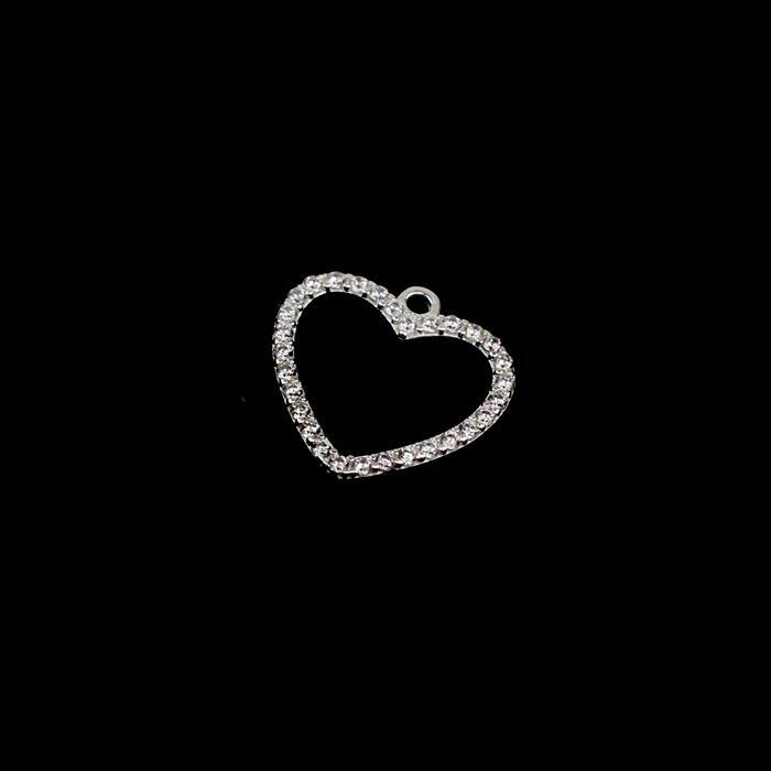 925 Sterling Silver Cubic Zirconia Small Heart Pendant Approx 15mm, 1pcs