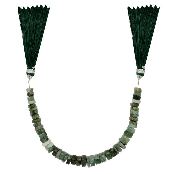 65cts Emerald Graduated Faceted Wheels Approx 4x2 to 8x4mm, 15cm Strand.