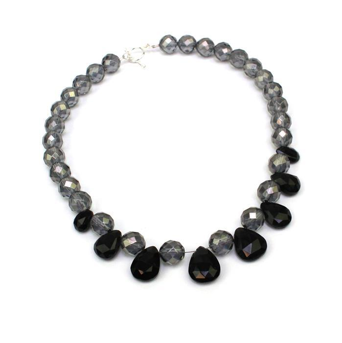 Midnight Magic; Grey Coated Clear Quartz 10mm, Black Lava Rock, Black Onyx Graduated Pears