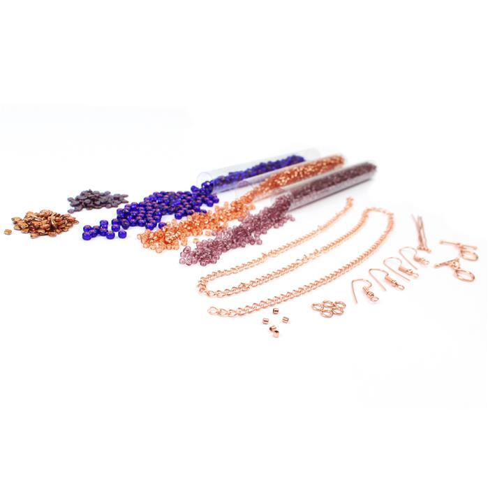 Evening Skies:Dragon Scale beads:Crystal & Sunset,Rose & Amethyst 8/0s,Violet 6/0,findings