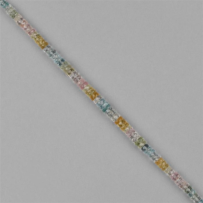 38cts Multi Beryl Graduated Faceted Wheels Approx 2x1 to 5x3mm, 18cm Strand.