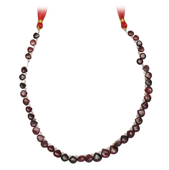 100cts Ruby Graduated Plain Drops Approx 5 to 9mm, 29cm Strand.