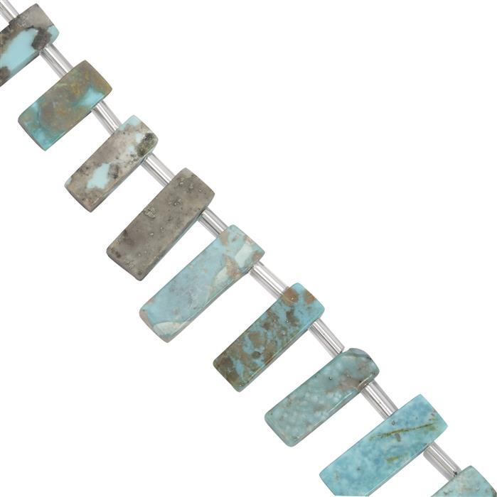 55cts Turquoise Bars Approx 11x4 to 5x16mm, 20cm Strand with spacer