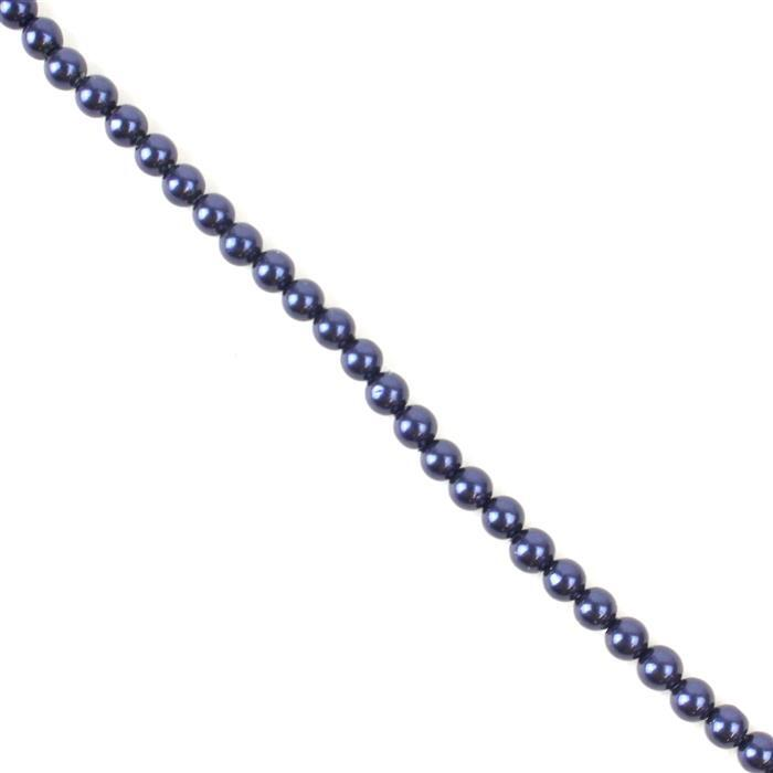 Midnight Shell Pearl Plain Rounds Approx 4mm, 38cm Strand