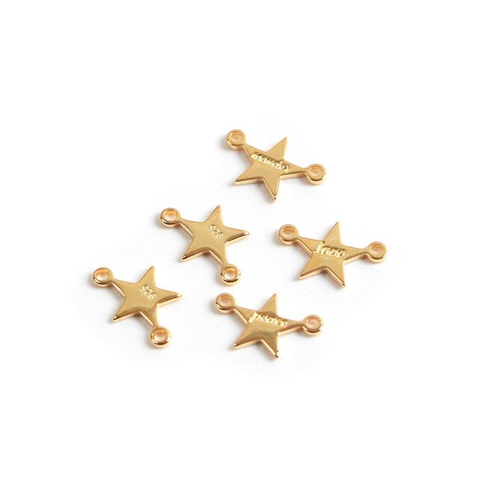 Gold Plated 925 Sterling Silver Stars Connector With Words Approx 8mm, 5pcs