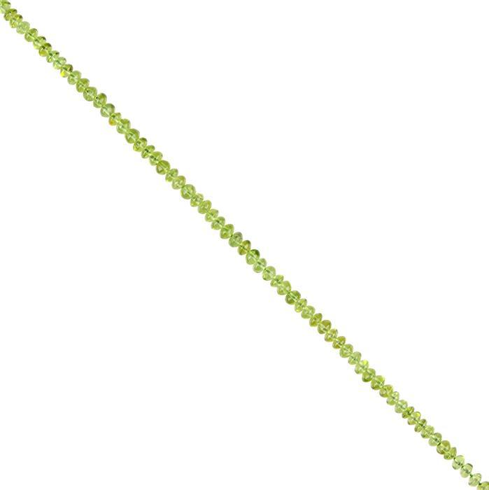 28cts Peridot Plain Rondelles Approx 4x3mm, 18cm Strand.