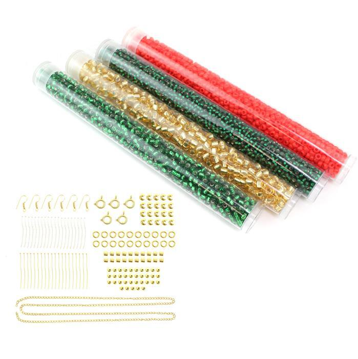 Seed Bead Gifts; 4 x Miyuki Seed Beads and Gold Plated Findings Pack