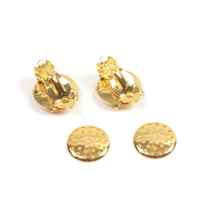 Gold Colour Base Metal Clip on Earrings Approx 17mm (1 pair)