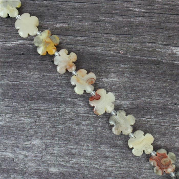 230cts Crazy Lace Agate Five-Petal Flower Appox 15mm, 27pcs/strand