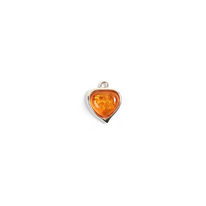 Baltic Cognac Amber Fancy Heart Charm Approx 16mm Sterling Silver