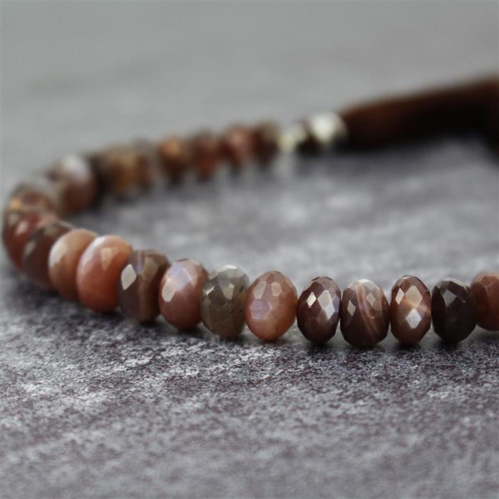 90cts Chocolate Moonstone Graduated Faceted Rondelles Approx 5x3 to 9x6mm, 18cm Strand.