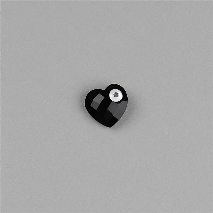 925 Sterling Silver Eyelet Charm Approx 13x13mm Inc. 5.80cts Black Onyx Briolette Heart Shape with Hole Size 1mm.