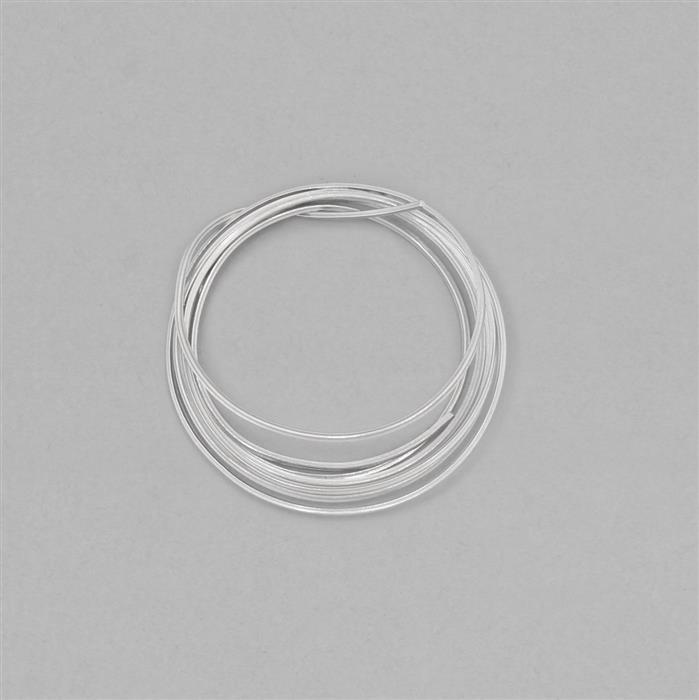 1m White Rhodium Plated 925 Sterling Silver Square Wire Approx 1.2mm