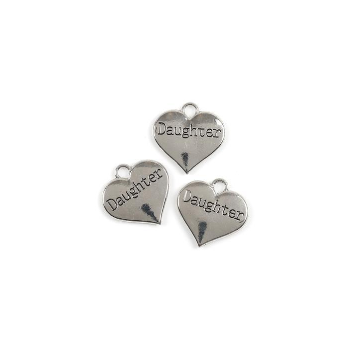 Silver Colour Heart Charms Engraved With Daughter Approx 3cm 3pk