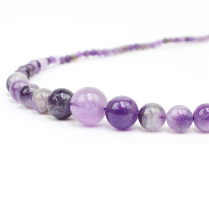 80cts Dog Tooth Amethyst Graduated Rounds Approx 4 to 12mm 38cm strand
