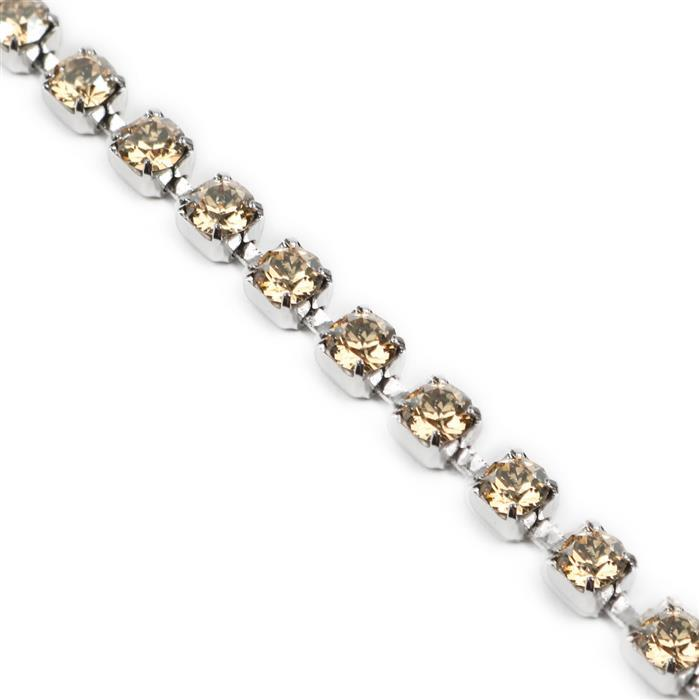 Swarovski Cupchain, Golden Shadow, Rhodium Plating, PP32, 27104, pk50cm