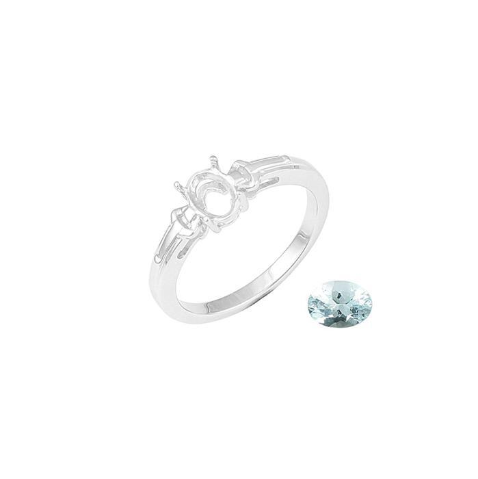 Size 9 925 Sterling Silver Ring Mount Fits 7x5mm Inc. 0.60cts Aquamarine Brilliant Oval 7x5mm.