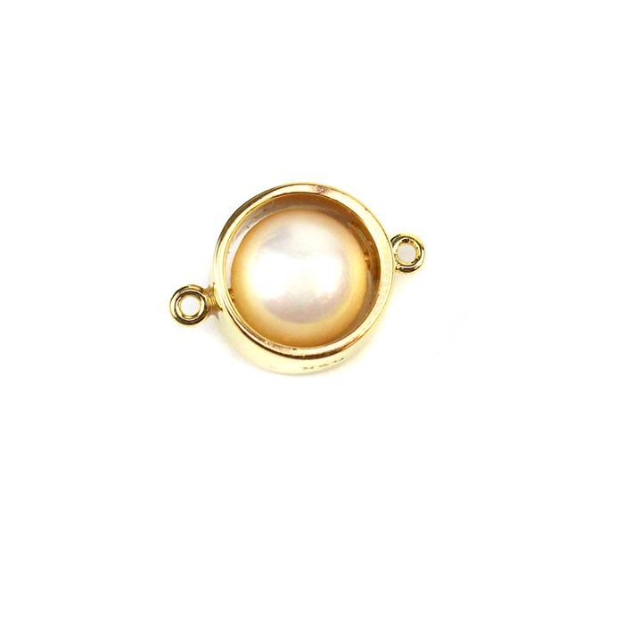 Gold Plated Sterling Silver Hoop Connector with Freshwater Cultured Pearl Approx 10X15mm 1pc