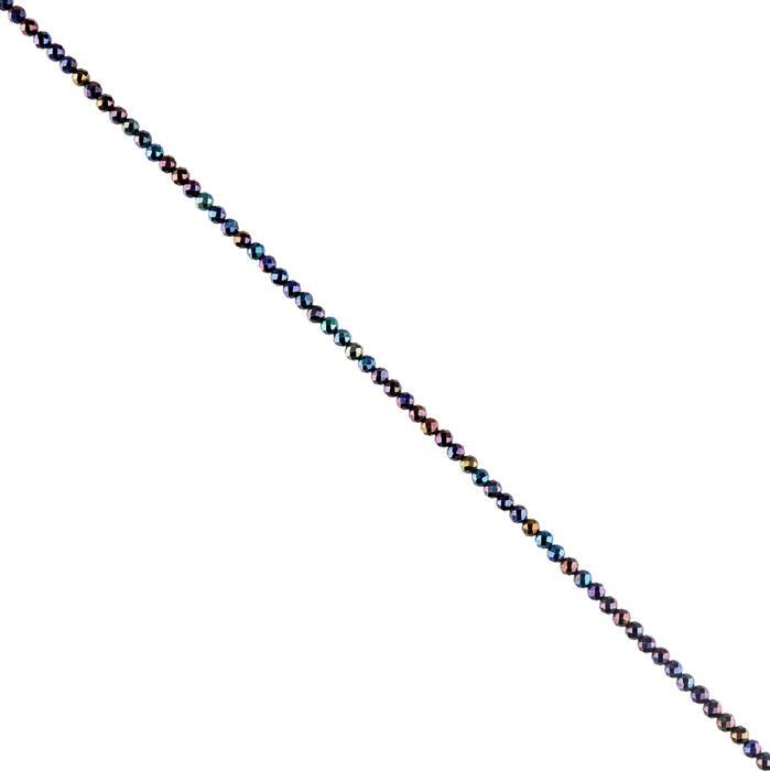 25cts Blue Colour Coated Black Spinel Faceted Rounds Approx 3mm, 30cm Strand.