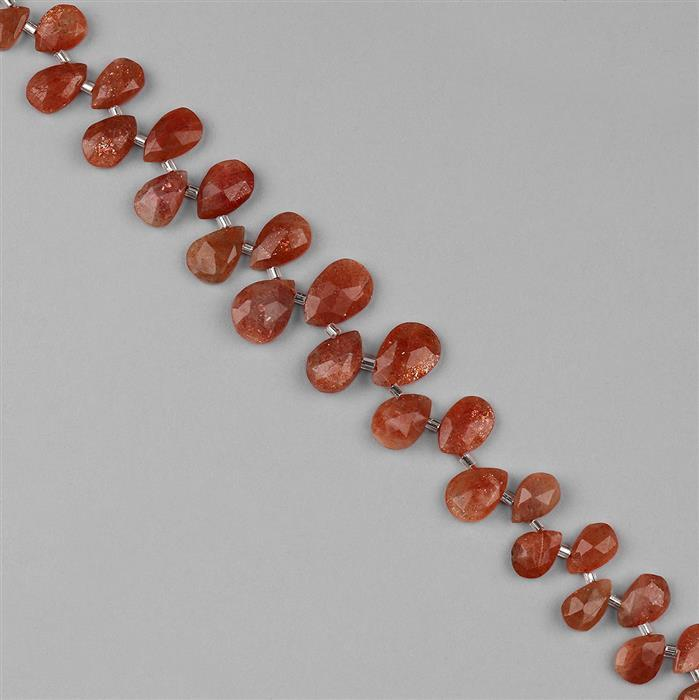 86cts Sunstone Graduated Faceted Pears Approx 8x6 to 14x10mm, 18cm Strand.