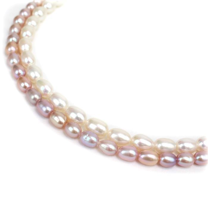 Rice Pearls! Inc; Lavendar & White Freshwater Pearls!