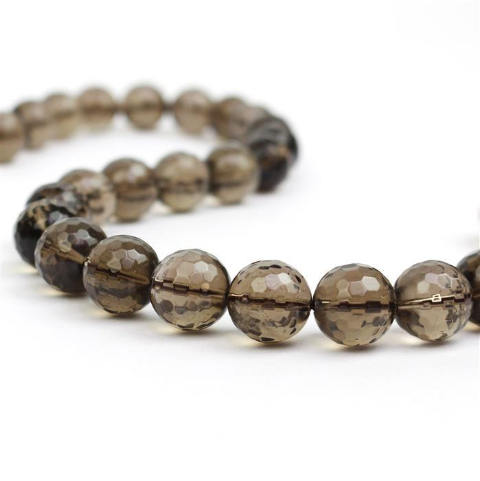 400cts Smokey Quartz Faceted Rounds 14mm 38cm strand