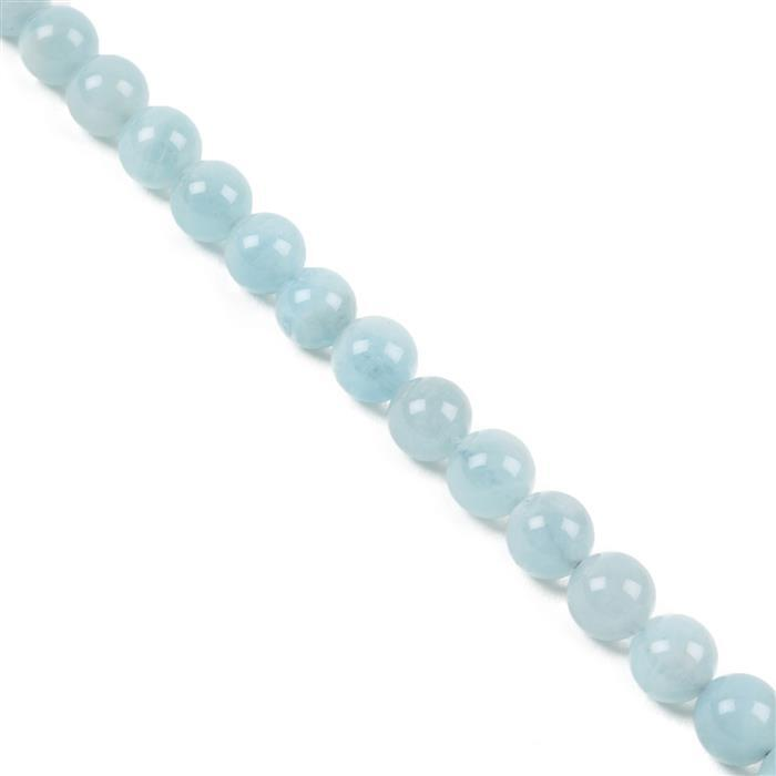 150cts Aquamarine Plain Rounds Approx 8mm 38cm