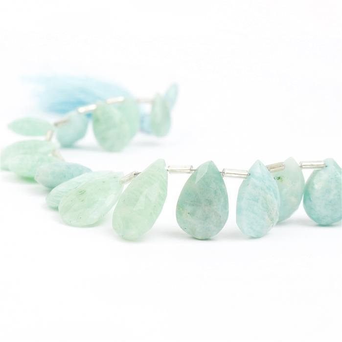 104cts Amazonite Graduated Faceted Pears Approx 11x6 to 16x10mm, 20cm Strand.
