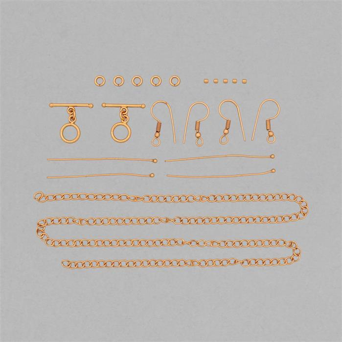 Bronze Plated Base Metal Essential Finding Kit In Organza Bag (21pcs)