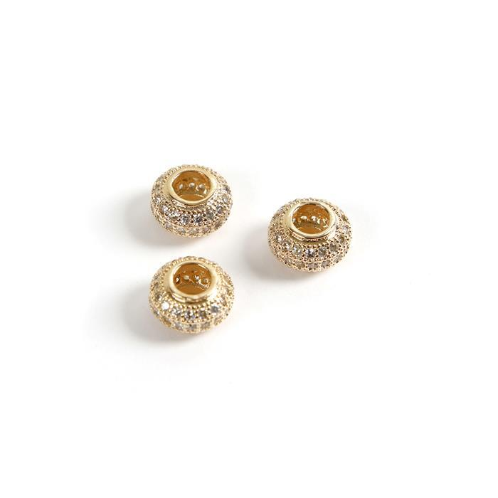 Gold Plated Base Metal CZ Donut Beads, 10mm (3pk)