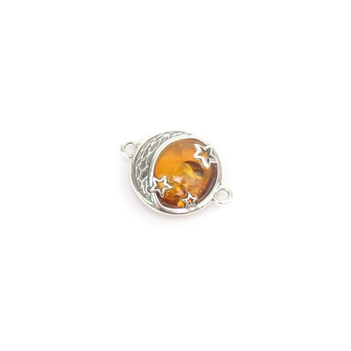 Baltic Cognac Amber Moon and Stars Sterling Silver Connector Approx 14x19mm