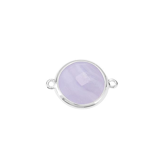 925 Sterling Silver Bezel Connector Approx 19x14mm Inc. 5.20cts Blue Lace Agate Briolette Cut Round Approx 12mm.