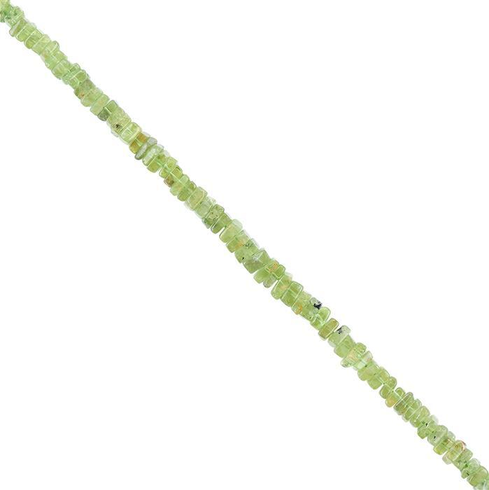 50cts Peridot Graduated Plain Squares Approx 3 to 5mm, 20cm Strand.