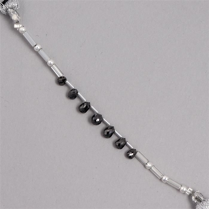 2cts Black Diamond Graduated Faceted Drops Approx 2x1 to 4x3mm, 2cm Strand.