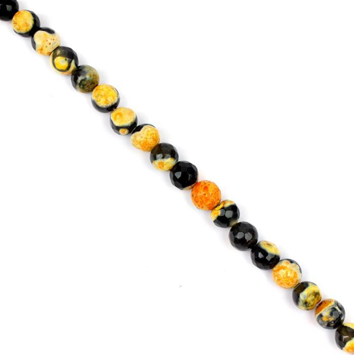 140cts  Black & Orange Agate Faceted Rounds Approx 8mm, 38cm strand