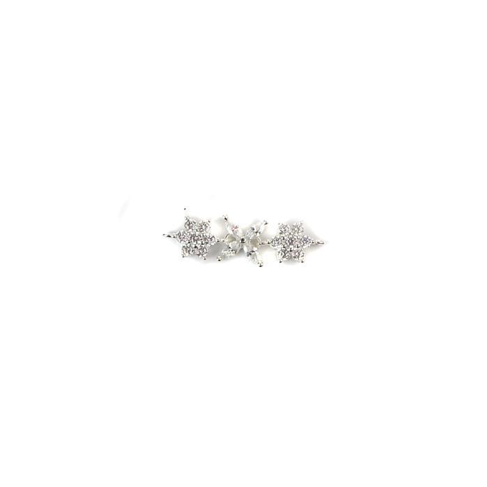 925 Sterling Silver And Cubic Zirconia Three Linked Flower Connector Approx 24x8mm 1pc