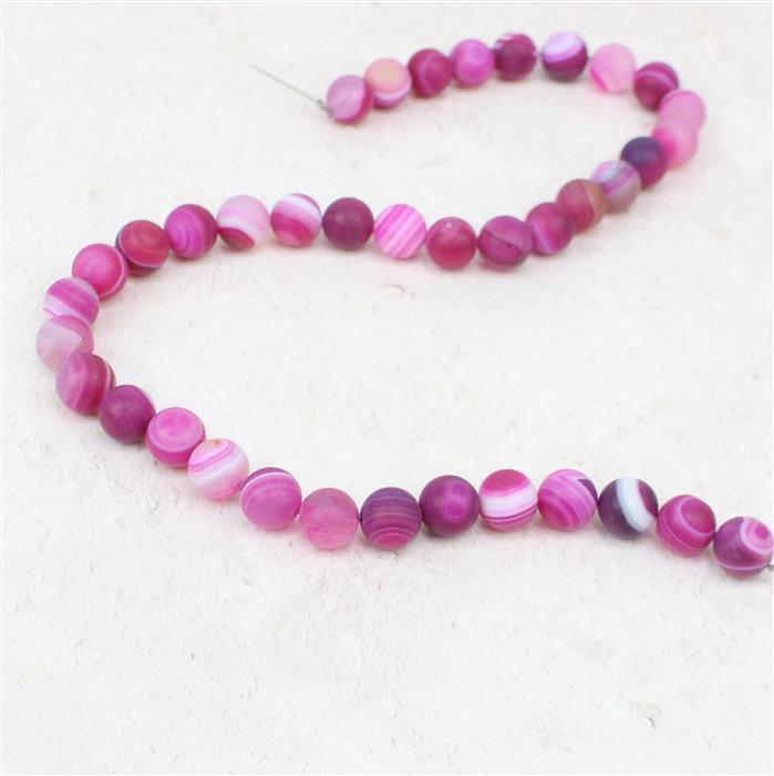 250cts Fuchsia Striped Frosted Agate Rounds Approx 10mm, 38cm strand