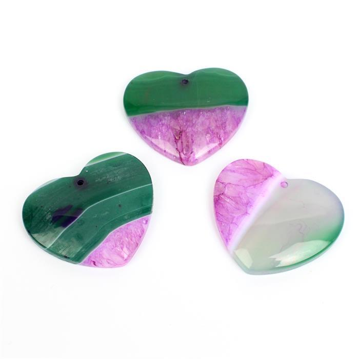 Triple Hearts! Inc; 3x 50cts Dyed Green & Fuchsia Agate Heart Pendant Approx 38-40mm,1pk