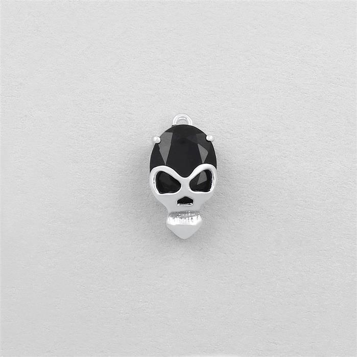 925 Sterling Silver Gemset Skull Charm Approx 15x8mm Inc. 2.15cts Black Onyx Brilliant Oval Approx 10x8mm.