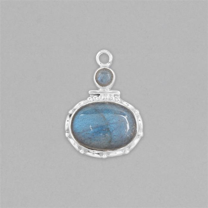 925 Sterling Silver Gemset Pendant Approx 30x21mm Inc. 11cts Labradorite Cabochons