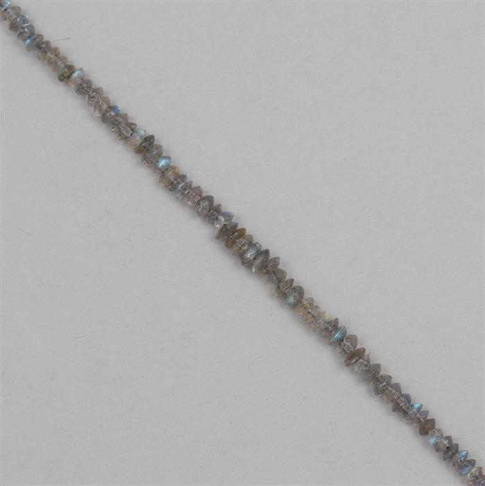 35cts Labradorite Graduated Plain Bicones Approx 1x1 to 4x3mm, 30cm Strand.