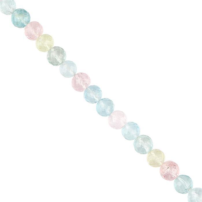 20cts Multi-Colour Beryl Faceted Rounds Approx 5mm, 8cm Strand.