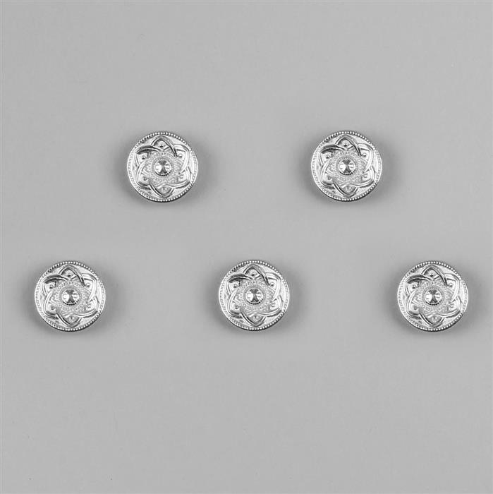 Silver Plated Base Metal Buttons (Alloy) 14mm (5pcs/set)