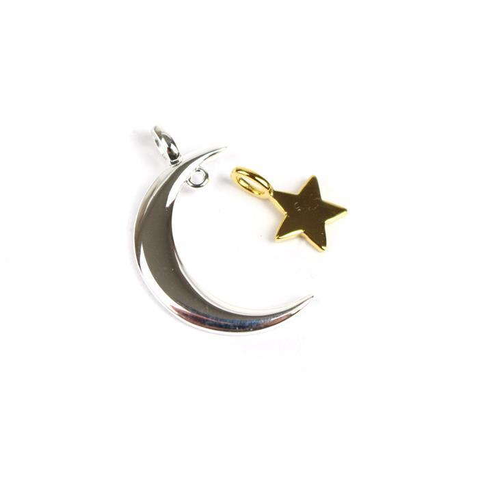 925 Sterling Silver Moon And Gold Plated Star Pendant Approx 20mm