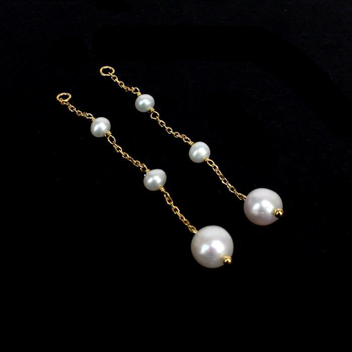 Gold Plated 925 Sterling Silver Freshwater Cultured Pearl Drops Approx 60mm drop, 1Pair