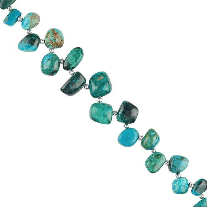 145cts Chrysocolla Graduated Plain Nuggets Approx 8x7 to 13x11mm, 18cm Strand.