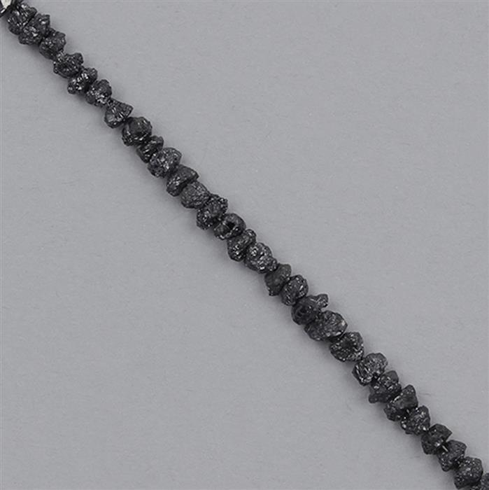 10cts Black Diamond Graduated Rough Nuggets Approx 2x1 to 4x1mm, 17cm Strand.
