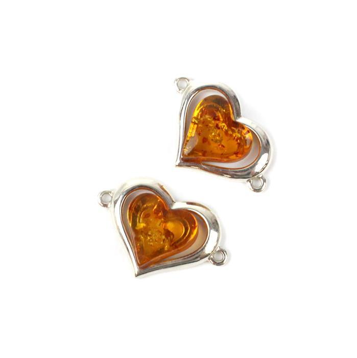 I Heart You! Inc; Baltic Cognac Amber Heartshape Sterling Silver Connector & Pendant